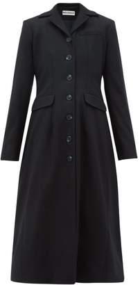 Molly Goddard Karolina Gathered-back Wool-blend Coat - Womens - Navy