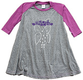 Urban Smalls Heather Gray & Purple Flower Owl Raglan Dress - Toddler & Girls