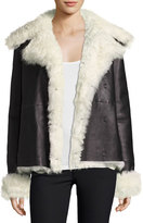 Theory Curly Toscana Shearling Fur Leather Pea Coat, Black