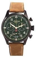 Alpina Men's Quartz Watch with Green Dial Chronograph Display and Brown Leather Strap