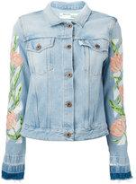 Off-White embroidered tulip denim jacket - women - Cotton/Polyester - M