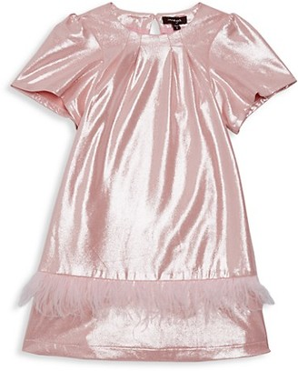 Imoga Little Girl's Girl's Kamryn Faux Feather-Trim Metallic Shift Dress
