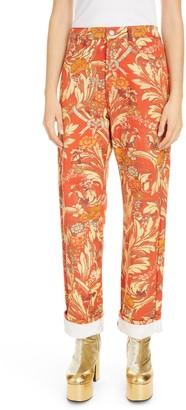 Dries Van Noten Floral Cotton Denim Cuffed Jeans
