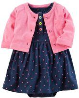 Carter's Baby Girl Polka-Dot Bodysuit Dress & French Terry Cardigan Set