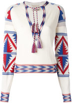 Laneus tassel neck blouse - women - Cotton/Viscose - 42