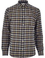 River Island MensMustard yellow check flannel shirt