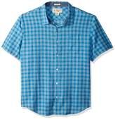Original Penguin Men's Short Sleeve Gingham End Linen Blend Plaid Shirt