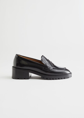 And other stories Heeled Leather Penny Loafers