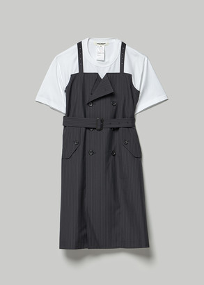 Junya Watanabe Women's T-Shirt With Wool Apron Overlay in Navy/Grey X White Size 3