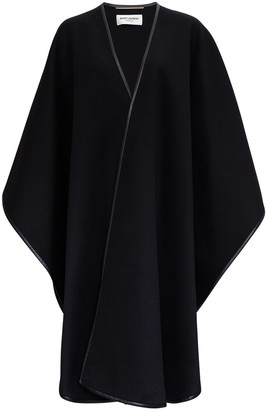 Saint Laurent Woll And Cashmere Blended Cape With Leather Trimming