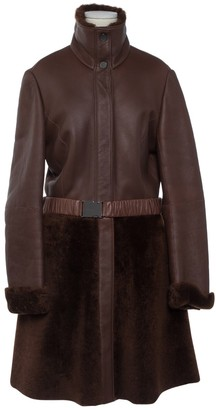Anne Klein Brown Leather Coat for Women