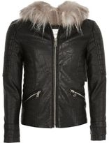 River Island Girls Black hooded biker jacket