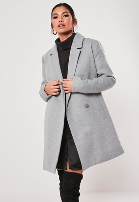 Missguided Grey Extreme Wrap Single Breasted Coat
