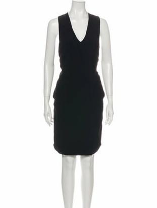Brandon Maxwell V-Neck Knee-Length Dress Black