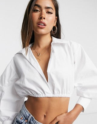 ASOS DESIGN cotton shirt with elasticated waist in white