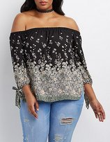 Charlotte Russe Plus Size Floral Off-The-Shoulder Tie Sleeve Top