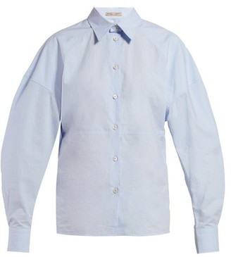Bottega Veneta Balloon-sleeve Cotton-poplin Shirt - Womens - Light Blue
