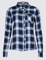 M&S Collection Checked Ruffle Long Sleeve Shirt
