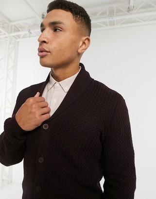ASOS DESIGN basket stitch shawl cardigan in dark purple