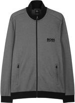 Boss Grey Zipped Cotton Blend Sweatshirt