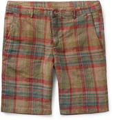 Massimo Alba - Vela Watercoloured-dyed Checked Linen Shorts