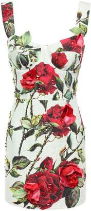 Dolce & Gabbana Embellished Floral-print Cotton-blend Jacquard Mini Dress