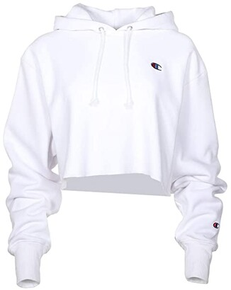 Champion LIFE Reverse Weave(r) Cropped Cut Off Pullover Hoodie (White) Women's Clothing