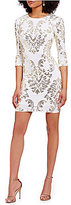 B. Darlin Metallic Sequin Mirror Print Sheath Dress