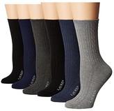 Lauren Ralph Lauren Cable Texture Trouser 6-Pack (Grey Heather Assorted) Women's Low Cut Socks Shoes