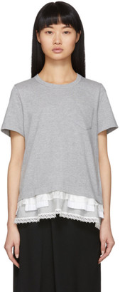Sacai Grey Lace Ruffle T-Shirt