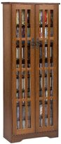 Leslie Dame M-477W High-Capacity Inlaid Glass Mission Style Multimedia Storage Cabinet