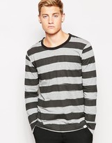 Cheap Monday Long Sleeve Top Block Smudgy Stripe - Grey