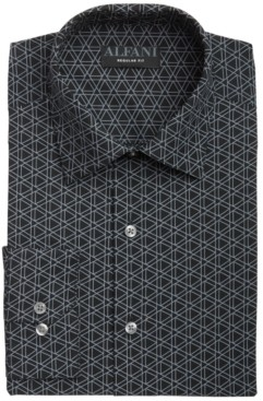 Alfani Men's Classic/Regular-Fit Wrinkle-Resistant Geo-Print Dress Shirt, Created for Macy's