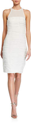 Halston Ruched High-Neck Body-Con Dress