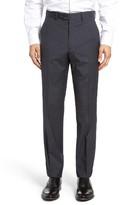 Santorelli Men's Flat Front Plaid Wool Trousers