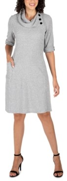 Robbie Bee Petite Cowlneck Knit Sweater Dress
