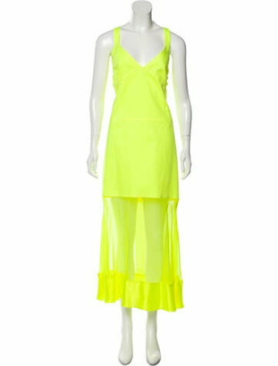 Prabal Gurung V-Neck Long Dress w/ Tags Green