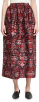 Oscar de la Renta Jacquard Tea-Length Midi Skirt, Red/Blue Pattern