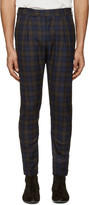 Paul Smith Navy Plaid Formal Trousers