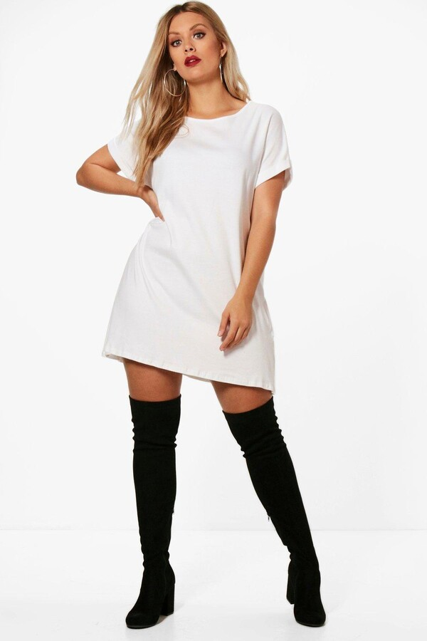 boohoo Plus Oversized Roll Up T-Shirt Dress
