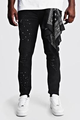 boohoo Mens Black Big & Tall Skinny Jeans With Bandana Repair, Black