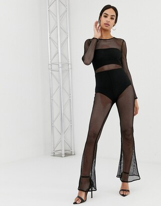 Asos DESIGN jumpsuit with highneck and flare leg in mesh