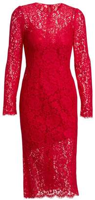Dolce & Gabbana Jackie Long-Sleeve Lace Sheath Dress