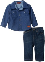 7 For All Mankind Knit Button-Up Shirt & Jean Set (Baby Boys 0-9M)