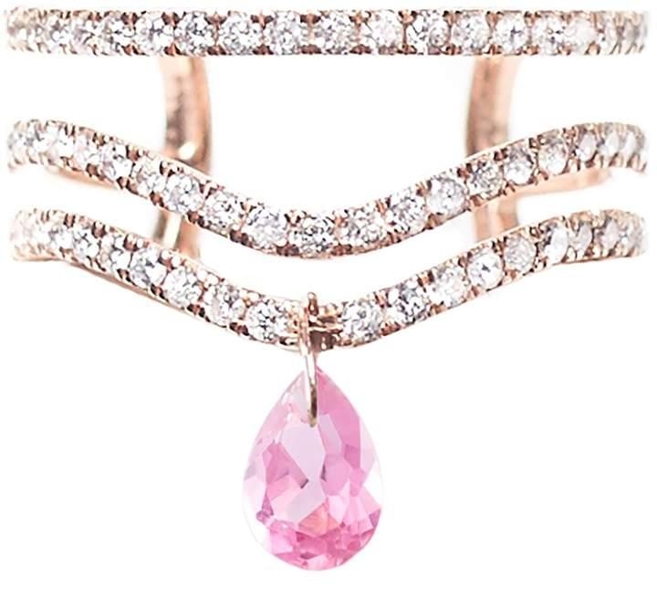Diane Kordas Rose Gold and Diamond Triple Band Spectrum Ring