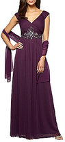 Alex Evenings Cap-Sleeve Bead-Trim Mesh Gown