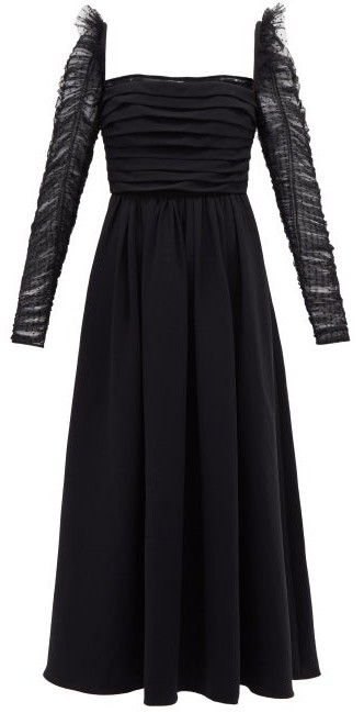 Self-Portrait Ruffled Dotted-tulle And Crepe Midi Dress - Black