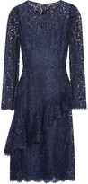 Dolce & Gabbana Ruffled Corded Lace Dress - Navy