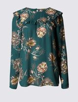 Marks and Spencer Ruffle Yoke Floral Print Long Sleeve Blouse