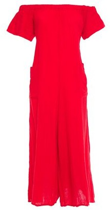 Mara Hoffman Off-the-shoulder Cotton-gauze Jumpsuit